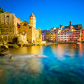 Vernazza Village, Church, Rocks And Sea Harbor On Sunset. Cinque Stock Photography - 40247242