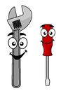 Cute Cartoon Spanner And Screw Driver Stock Photography - 40250302