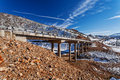 Mountain Bridge In Winter With Snow And Blue Sky Royalty Free Stock Photos - 40253098