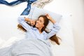 Woman Awake In Bed And Smiling Stock Image - 40258701