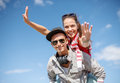 Smiling Teenagers In Sunglasses Having Fun Outside Stock Images - 40265544