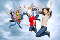 Happy Teenage Friends Jumping In The Sky Royalty Free Stock Image - 40273636