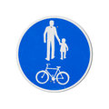 Bicycles And Pedestrians Only. Blue Round Road Sign Royalty Free Stock Photos - 40274698