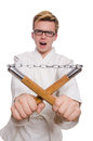 Funny Karate Fighter With Nunchucks Stock Photos - 40292233