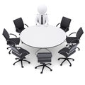 3d Man At The Round Table. Seven Empty Chairs Stock Photos - 40300993
