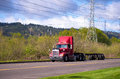 Red Big Rig On The Road With Power Line Stock Photos - 40306183