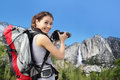 Woman Mountain Hiker Taking Pictures In Yosemite Royalty Free Stock Photos - 40306498
