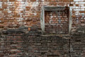 Immured Window Onto An Old Brick Wall. Abstract Background. Stock Image - 40309321
