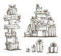 Piles Of Presents. Doodle Heaps Of Gift Boxes. Royalty Free Stock Photos - 40330568