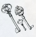 Hand Drawn Vintage Keys Royalty Free Stock Images - 40350959