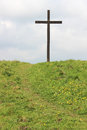 Easter Cross On Green Hill With Path Up To Cross Royalty Free Stock Photography - 40355537