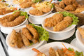 Deep Fat Fried Food In Plates On Cafe Shop Shelf Royalty Free Stock Photos - 40359568