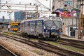 Train Moving Out Of A Station Covered In Graffiti In Zagreb, Cro Royalty Free Stock Image - 40369726