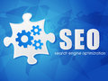 SEO With Puzzle And World Map, Search Engine Optimization, Flat Stock Images - 40378304