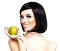 Girl With Green Apple Royalty Free Stock Photography - 40379997