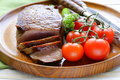Grilled Meat Beef Steak With Vegetable Garnish Stock Images - 40381914