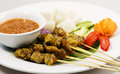 Chicken Satay On White Plate Royalty Free Stock Image - 40382956