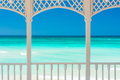 Terrace With A View Of A Tropical Beach In Cuba Stock Image - 40383041