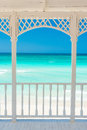 Terrace With A View Of A Tropical Beach In Cuba Royalty Free Stock Image - 40383046