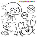 Coloring Book Sea Animals Set Royalty Free Stock Photography - 40390707