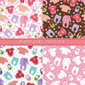 Clothes For Newborn Baby Girl In Seamless Pattern Set Royalty Free Stock Image - 40401296