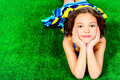 Girl On Grass Royalty Free Stock Photo - 40413405