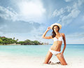 Young Woman In Sexy Swimsuit Relaxing On The Beach Stock Photography - 40414762
