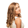 Portrait Young Lovely Blonde Woman With Brown Eyes Isolated On W Stock Images - 40430254