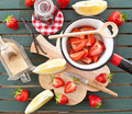 Cooking Jam With Fresh Strawberries Royalty Free Stock Photography - 40439117