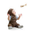 Baby Boy Playing With Wooden Plane Royalty Free Stock Photos - 40470908