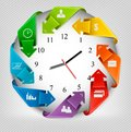 Infographics Origami Clock With Icons. Royalty Free Stock Images - 40480099