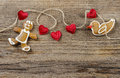 Gingerbread Man And Cute Red Hearts Royalty Free Stock Photo - 40482735