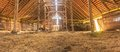 Panorama Interior Of Old Farm Barn With Straw Royalty Free Stock Image - 40490216