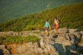 Two Women Is Trekking In The Crimea Mountains Royalty Free Stock Photo - 40521755