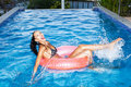Woman Floating In Inner Tube In Pool And Having Fun Stock Photography - 40530102