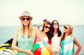 Girl With Ball And Friends On The Beach Royalty Free Stock Photos - 40530708