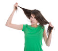 Shocked And Sad Woman - Broken Hair After Coloration. Stock Photos - 40538323