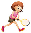 A Cute Little Girl Playing Tennis Royalty Free Stock Photos - 40547288