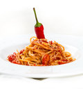 Hot Pasta With Cheese And Tomatos Royalty Free Stock Photos - 40569108