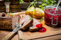 Venison With Rosemary Served With Cranberry Sauce Royalty Free Stock Image - 40586526