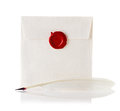 Mail Envelope Or Letter Sealed With Wax Seal Stamp And Quill Pen Royalty Free Stock Photography - 40590937