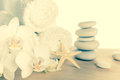 Spa Concept With Stacked Of Stones, Starfish, White Flowers Royalty Free Stock Photo - 40591575