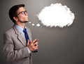 Young Man Thinking About Cloud Speech Or Thought Bubble With Cop Royalty Free Stock Photography - 40592237
