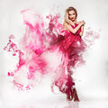 Gorgeous Young Adult Blonde In Pink Dress With Smo Royalty Free Stock Photography - 40605227