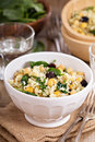 Salad With Rice, Chickpeas, Spinach, Raisins Royalty Free Stock Photography - 40616527