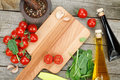 Fresh Ingredients For Cooking: Pasta, Tomato, Salad And Spices Stock Photos - 40616843