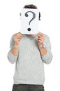 Man Behind Question Mark Sign Royalty Free Stock Photo - 40628885
