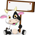Cute Cow Cartoon With Blank Board Stock Photography - 40633002