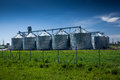 Grain Elevator At Field Against Deep Blue Sky Royalty Free Stock Photo - 40642295
