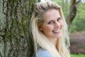 Beautiful Blond Woman Smiling In The Forest Stock Photography - 40642322